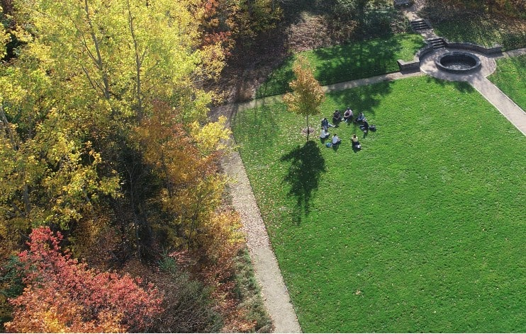 aerial view of students in outdoor class