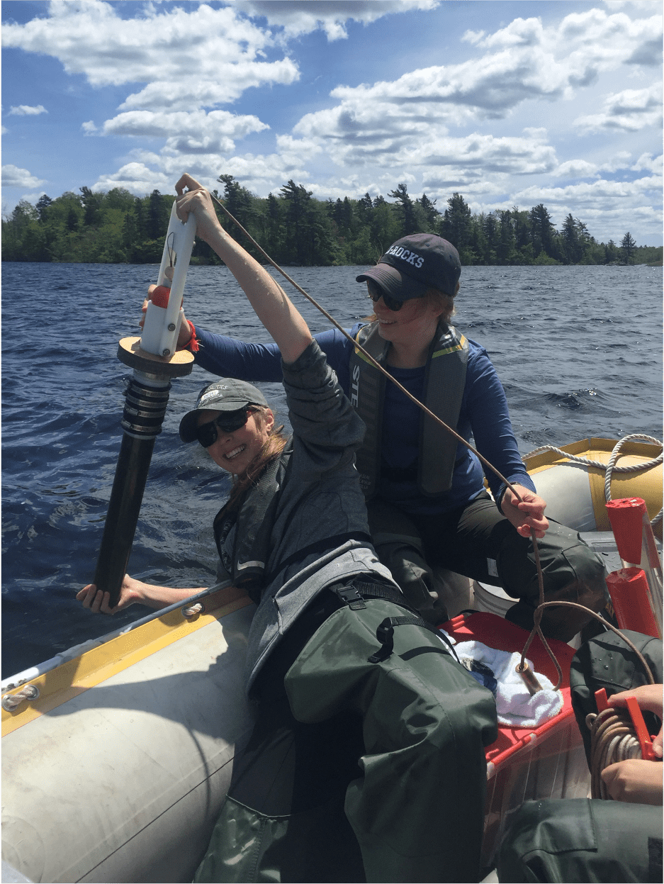 Lauren collecting samples at Gaspereau lake, NS