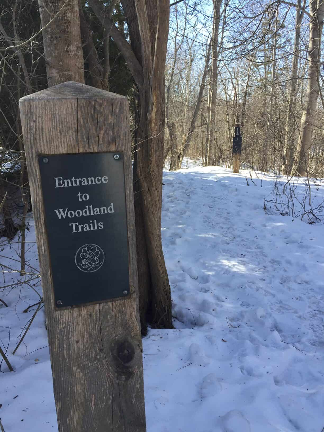 Sign at entrance to woodland trails